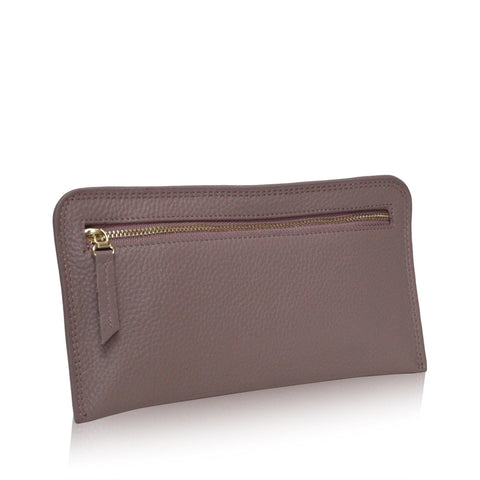 Dazz Calf Leather Zipper Wallet - Mauve Pink