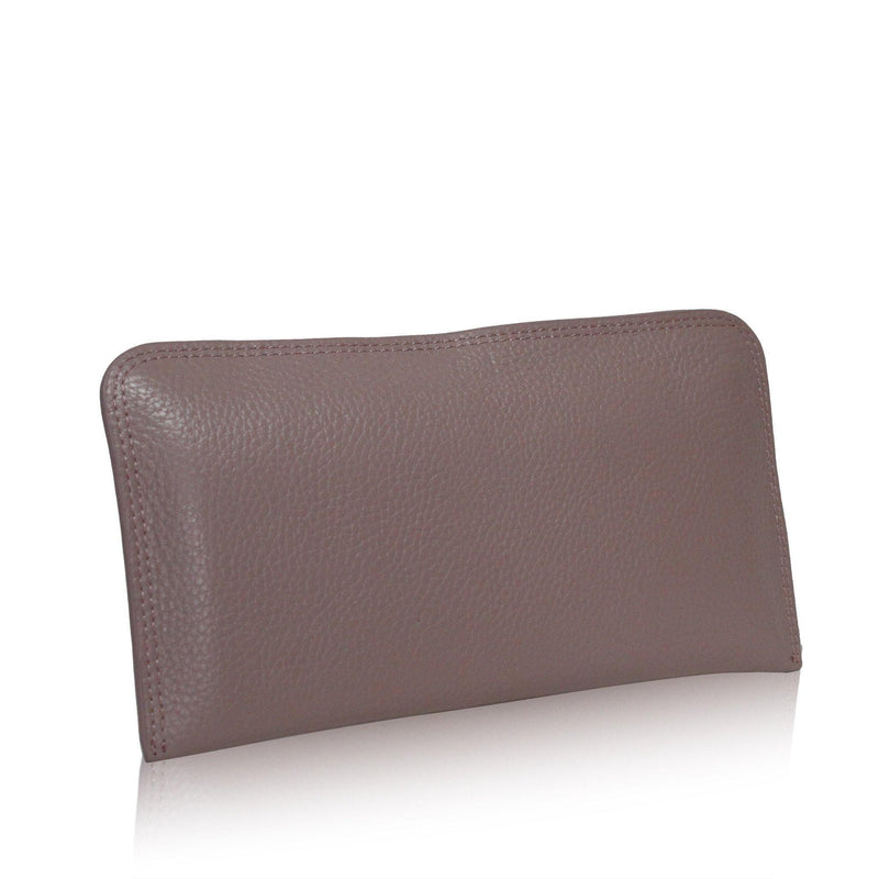 (Clearance) Dazz Calf Leather Zipper Wallet - Mauve Pink - Oribags.com
