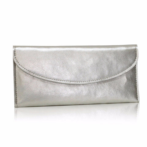 (Clearance) Dazz Calf Leather Simplicity Wallet - Silver