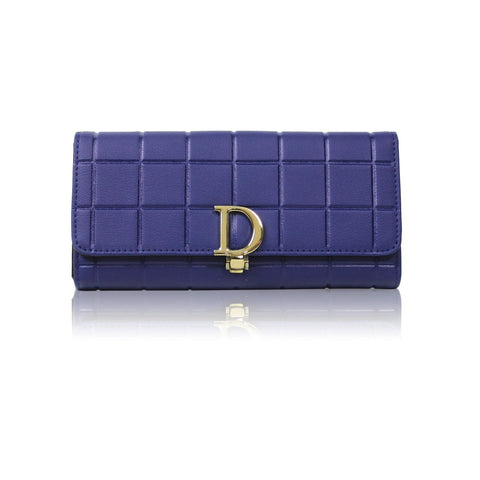 Dazz Calf Leather Cube D Wallet - Blue