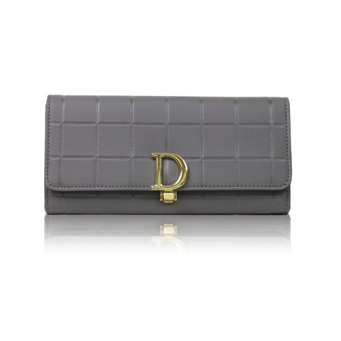 Dazz Calf Leather Cube D Wallet - Grey