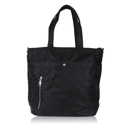 DAZZ MINIMALIST NYLON TOTE BAG - BLACK