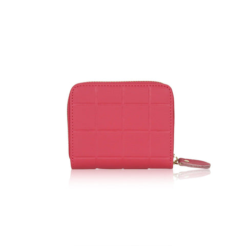 DAZZ CALF LEATHER MINI CUBE WALLET - PINK