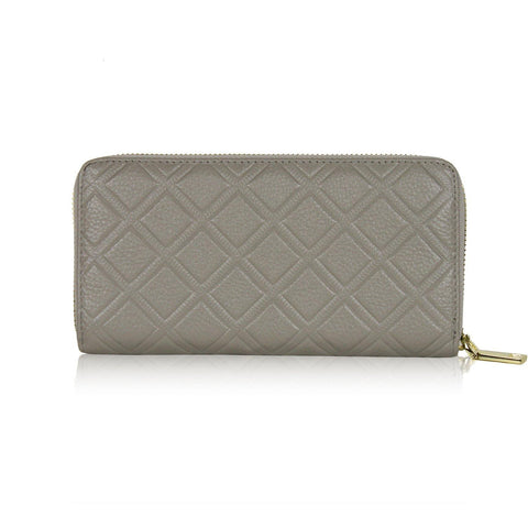 Dazz Calf Leather Iconic Quilted Wallet - Light Grey