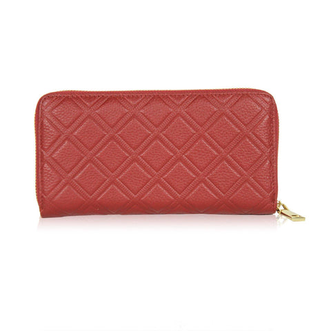 Dazz Calf Leather Iconic Quilted Wallet - Red