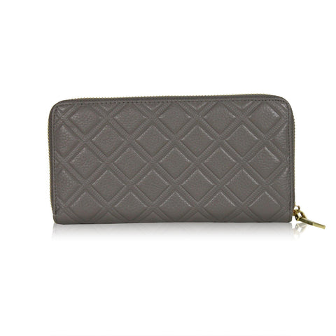 Dazz Calf Leather Iconic Quilted Wallet - Dark Grey