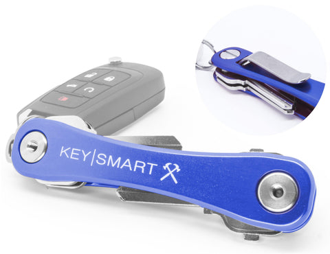KeySmart Rugged Aluminium Compact Key Holder w/ Pocket Clip & Bottle Opener - Blue