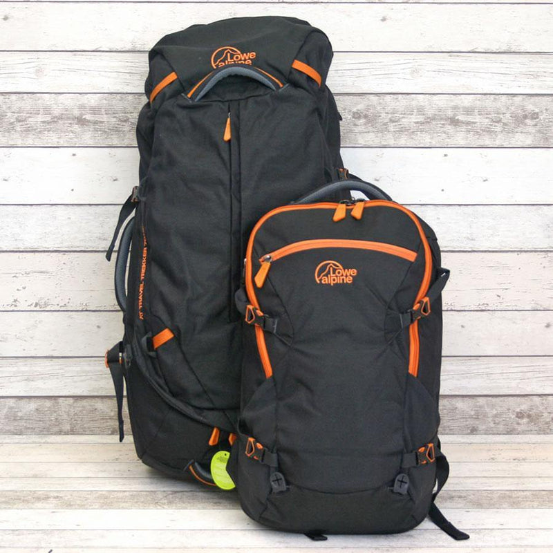 Lowe Alpine Travel Trekker 70+30L Backpack - Black/Orange - Oribags.com