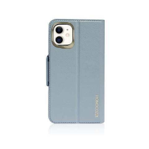MONOCOZZI  Lucid Folio|Premium Vegan Leather Wallet with detachable Snap-on Back cover for iPhone 11 - Blue