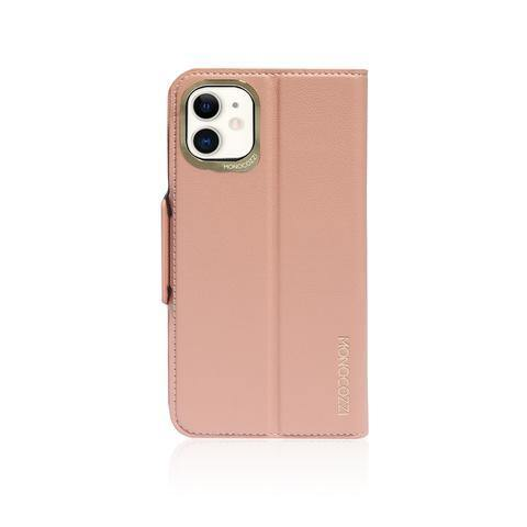(Promo) Monocozzi Lucid Folio|Premium Vegan Leather Wallet with detachable Snap-on Back cover for iPhone 11 - Coral