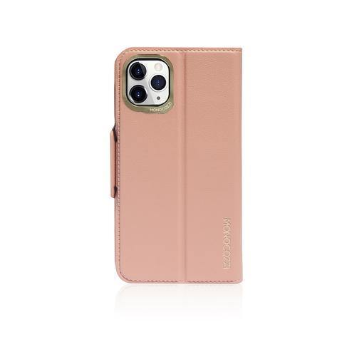 (Clearance) Monocozzi Lucid Folio|Premium Vegan Leather Wallet with detachable Snap-on Back cover for iPhone 11 Pro - Coral