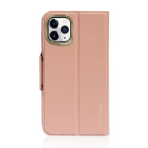MONOCOZZI  Lucid Folio|Premium Vegan Leather Wallet with detachable Snap-on Back cover for iPhone 11 Pro Max - Coral