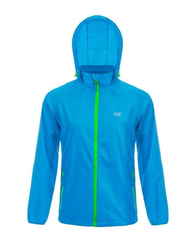 Mac In A Sac Neon Unisex Waterproof Packable Jacket - Blue - Oribags.com