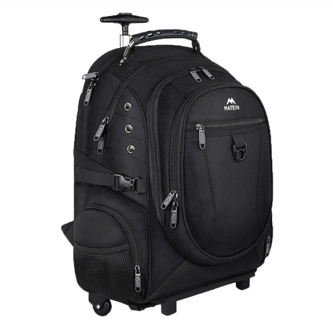 "Matein RollPal Wheeled 2-in-1 Removable Telescopic Handle Laptop Backpack (Fits 17"" Laptops) - Black"