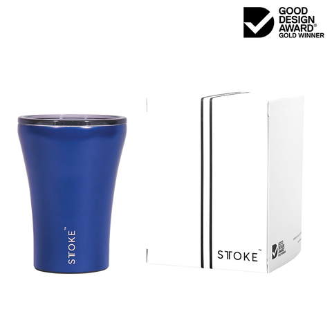 Sttoke Ceramic Reusable Double Wall Insulation Cup 8oz - Magnetic Blue