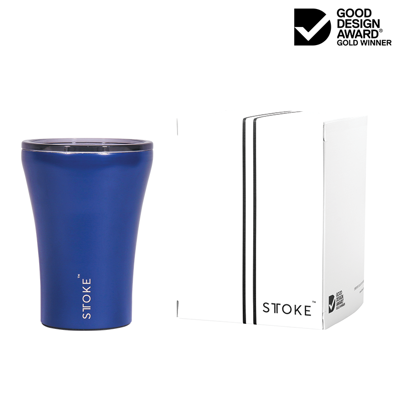 Sttoke Ceramic Reusable Double Wall Insulation Cup 8oz - Magnetic Blue - Oribags.com