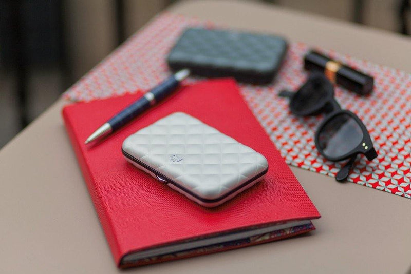 Ogon Quilted Button Card Holder RFID Safe - Navy Blue - Oribags.com