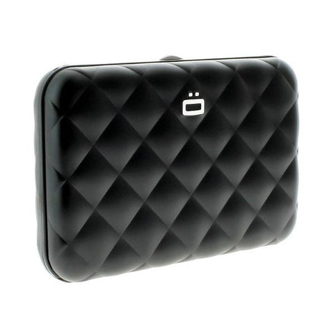 Ogon Quilted Button Card Holder RFID Safe - Black