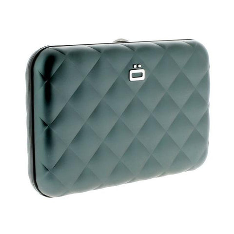 Ogon Quilted Button Card Holder RFID Safe - Platinum