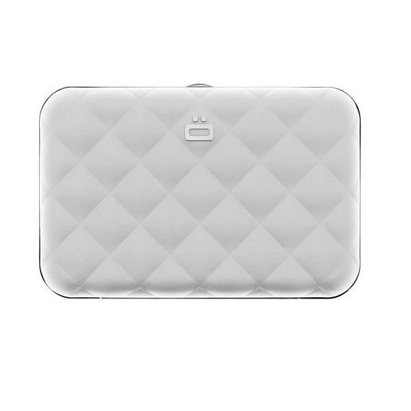 Ogon Quilted Button Card Holder RFID Safe - Silver