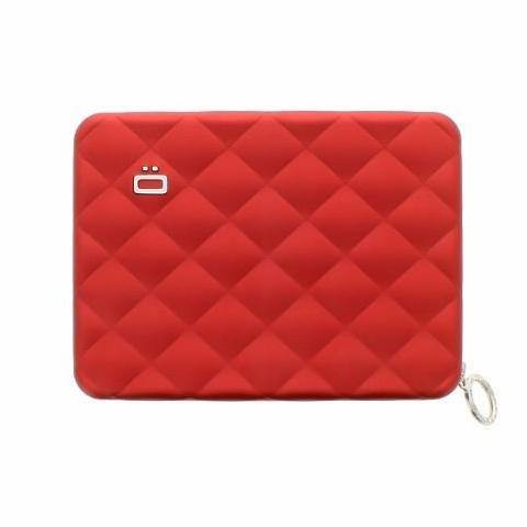 Ogon Quilted Passport Wallet RFID Safe - Red
