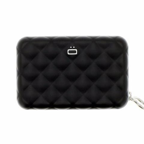Ogon Quilted Zipper Card Holder RFID Safe - Black