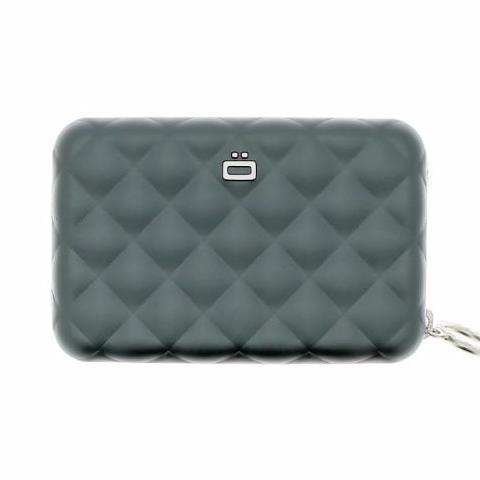 Ogon Quilted Zipper Card Holder RFID Safe - Platinum