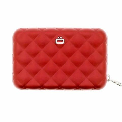 Ogon Quilted Zipper Card Holder RFID Safe - Red