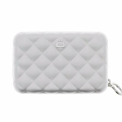 Ogon Quilted Zipper Card Holder RFID Safe - Silver