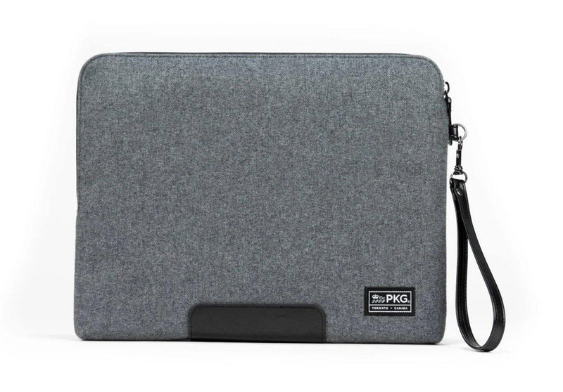 "PKG Slouch laptop sleeve (Fits 14"" laptop / tablet) - Grey Wool / Black - Oribags.com"