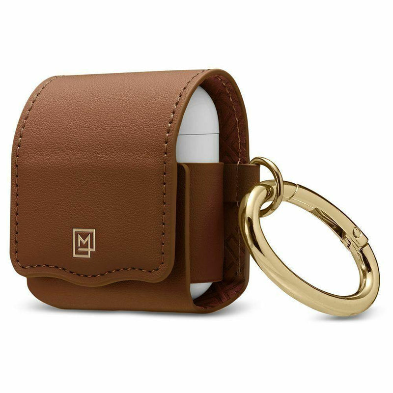 Spigen AirPods 2nd Gen / 1st Gen Case La Manon Leather - Brown - Oribags.com