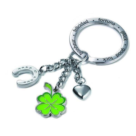 TROIKA Lucky Clover Shamrock Key-chain with Chrome and Enamel Good Luck Charms