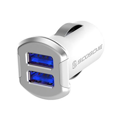 Scosche Revolt Dual 12W USB Car Charger with Illuminated USB Ports - Silver - Oribags.com