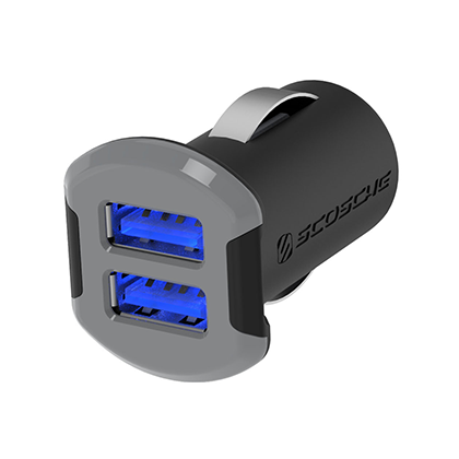 Scosche Revolt Dual 12W USB Car Charger with Illuminated USB Ports - Space Gray