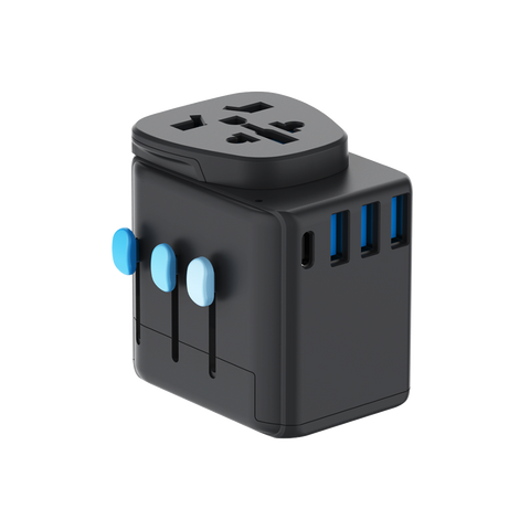 Zendure Passport Pro Resettable Grounded Travel Adapter with USB-C PD Fast Charging - Black