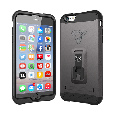 Armor-X Shockproof Rugged Case w/ Kick Stand & X-Mount for iPhone 6/6s - Gunmetal - Oribags Sdn Bhd