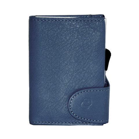 C-Secure RFIDSafe Italian Leather Wallet - Blu Marino