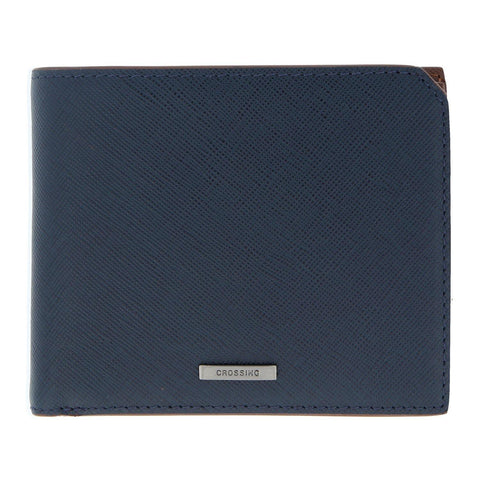 Crossing Bi-Fold Wallet With Flap & Coin Pouch – Blue/Brown
