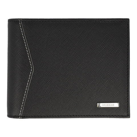 Crossing Iceberg Bi-Fold Wallet With Flap & Coin Pouch – Black