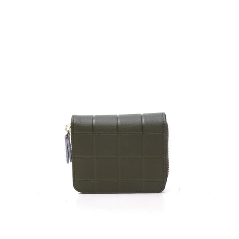 Dazz Calf Leather Mini Cube Wallet - Green