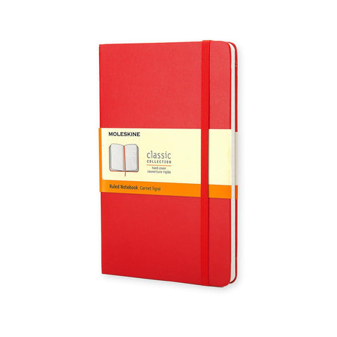 (Clearance) Moleskine Classic Notebook Journal (Hard Cover) - Large Size / Scarlet Red / Ruled