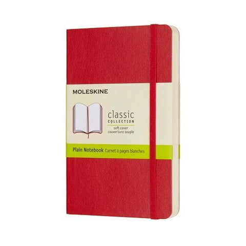 Moleskine Classic Notebook Journal (Soft Cover) - Pocket Size / Scarlet Red / Plain