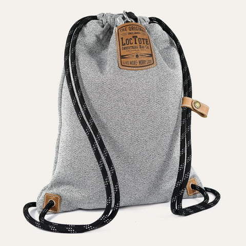 Loctote Flak Sack II Theft-Resistant Drawstring Backpack - Heather Grey