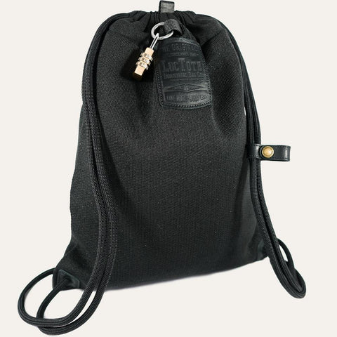 Loctote Flak Sack II Theft-Resistant Drawstring Backpack - Stealth Black