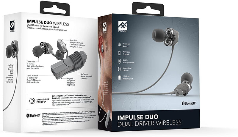 (Clearance) IFROGZ Audio Impulse Duo Dual Driver Wireless Earbuds - White