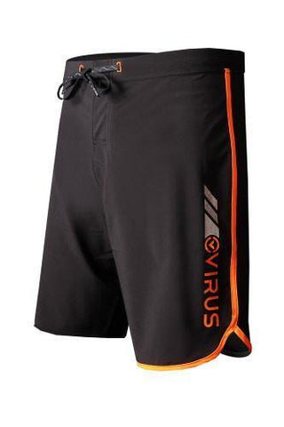 VIRUS AIRFLEX 4-WAY STRETCH TRAINING SHORTS - BLACK WITH NEON ORANGE - MMAoutfit - 1