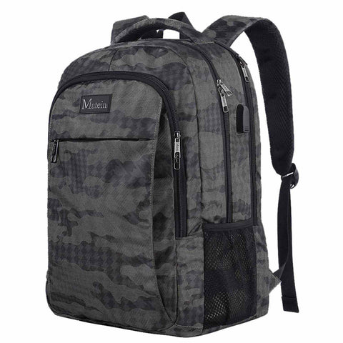"Matein Mlassic Anti-Theft Laptop Backpack w/ Charging Port (Fits 15.6"") - Camo"