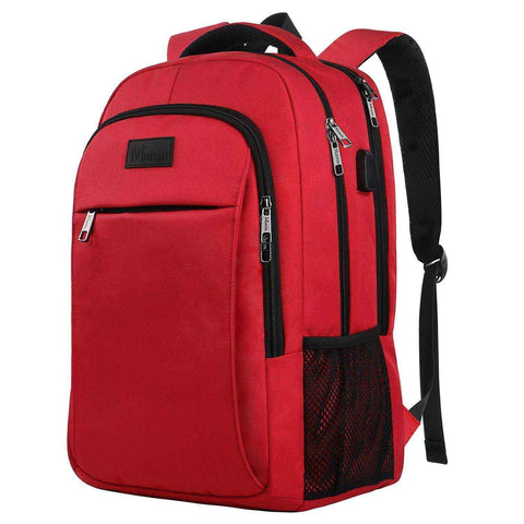 "Matein Mlassic Anti-Theft Laptop Backpack w/ Charging Port (Fits 15.6"") - Red"