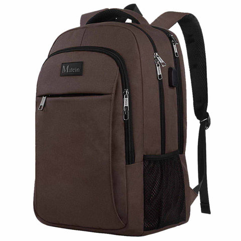 "Matein Mlassic Anti-Theft Laptop Backpack w/ Charging Port (Fits 15.6"") - Brown"