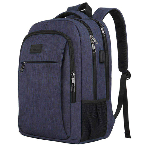 "Matein Mlassic Anti-Theft Laptop Backpack w/ Charging Port (Fits 15.6"") - Blue"